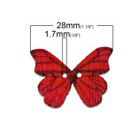 "25 Butterfly ​​​​​​​Wooden Buttons 2 Holes   28mm(1 1/8"") x 21mm( 7/8"")  Random"
